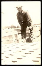 RPPC Worker CEMENT CINDER BLOCK PLANT Green Bay Wisconsin REAL PHOTO POSTCARD