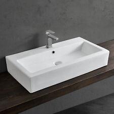 [neu.haus] Waschbecken Aufsatzwaschbecken 80x44cm Keramik weiß Waschtisch Wand