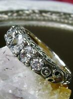 Antique Vintage Engagement Ring Five Stone 14K White Gold Finish 2.46 Ct Diamond