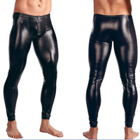 Men's Patent Leather Trousers Wet Look Skinny Long Pants Slim Fit Clubwear Black