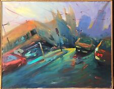 Original Veerakeat Cityscape painting of San Francisco c 1997