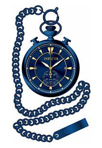 Invicta Men's Vintage Quartz Chrono Blue Dial Stainless Steel Pocket Watch 34455