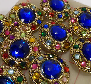 12 vintage extra large gold plastic shank buttons multi color jewels blue 43mm