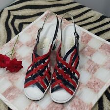 Retro Authentic Vintage Montgomery Ward Red/White/Blue Woven 4Inch Heel Size 5.5