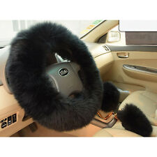 1 Set Plush Black Wool Warm Steering Wheel Cover Woolen Car Grips Accessory Hot