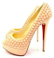 Christian Louboutin Lady Peep Spikes 150 Poudre Pink Patent Calf Pumps Euro 36.5