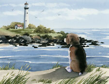 Beagle At The Beach Dog Watercolor 8 x 10 Art Print Signed by Artist Djr