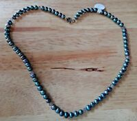 "17"" Grey Blue 4mm FW Pearl and 4mm Grey Crystals Sterling Silver Necklace"