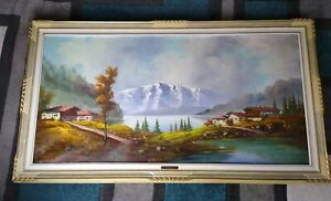 Carlo Mancini, Mountainside Landscape, Oil Painting with frame beautiful