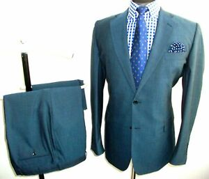 CHESTER BARRIE SUIT Jacket Trousers 46 R Tonic Blue WOOL MOHAIR Waist 38 Leg 32