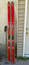 Vintage Wooden Skis  w/Poles - 82 Inches - Cable Bindings