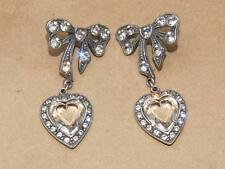 VTG Sterling Silver Rhinestone Bow & Cut Glass Heart Dangle Earrings 22.4g 2.25""