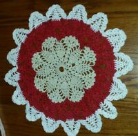 Vintage Red, Cream & White Hand Crochet Doilie Doily 12 Inch circle