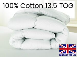 13.5 TOG Luxury HOTEL QUALITY 100% COTTON COVER Duvet - MADE IN UK - All Sizes
