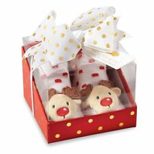 "Mud Pie Baby Girl Christmas Rattle Toe Sock & Headband Set ""Reindeer"" New"