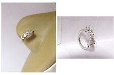 Surgical Steel 5 Clear CZ Crystals Nose Nostril Hoop Ring 18 gauge 18g 8 mm