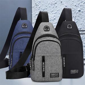 Men Shoulder Bag Sling Crossbody Chest Oxford Satchel Travel USB Port Backpack