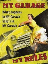 My Garage My Rules, Car Mechanic 50's Pinup Funny/Humorous Medium Metal/Tin Sign