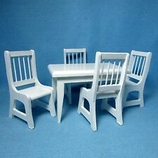 Dollhouse Miniature White Kitchen / Dining Room Table with Chairs  RB0021/T6339