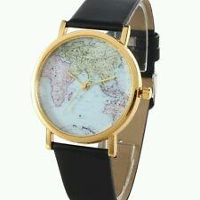 World Map Globe Fashion Leather Band Womens Analog Quartz Wristwatch