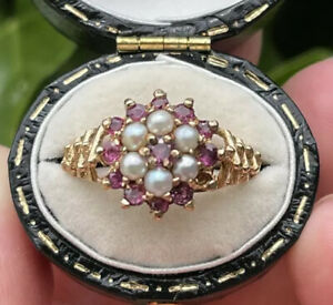Vintage 1970's Style 9ct Gold Ruby And Split Pearl Cluster Ring, Size P 3.6g
