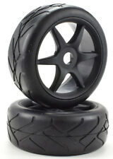 Apex RC Products 1/8 On-Road Black 6 Spoke Wheels / Super Grip Tires #6023
