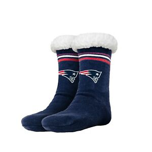 New England Patriots Women's Stripe Logo Tall Footy Slippers Size 6-10 Non Skid