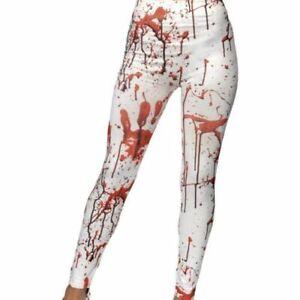 Women's Blood Stained Splatter Horror White Footless Leggings Zombie Halloween