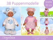 E-BOOK Schnittmuster 38 Modelle für Puppenkleidung Baby Puppen 32cm