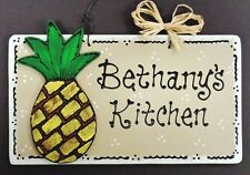 PINEAPPLE Personalize KITCHEN Name SIGN Decor TROPICAL Wall Art Hanger Plaque