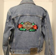 Harley-Davidson Womens Jean Jacket~Bar Shield Roses Patch on Back~Size M~EUC