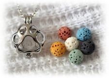Necklace Diffuser with 6 lava stones! Dog or Cat Paw Aromatherapy Essential Oil