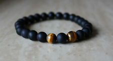 Unisex Tiger's Eye Stretch Bracelet with Matte Beads Black