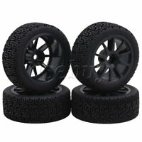 4x RC1:10 On Road Car L Pattern 70MM OD Rubber Tires & V Type Wheel Rims Black
