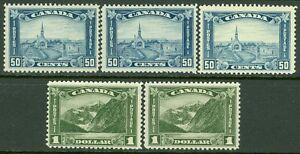 CANADA : 1930. Nice grouping of Scott #176(3),177(2) All are Fresh & w/full OG