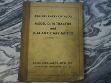 Vintage 1959 Allis Chalmers Dealers Parts Catalog Model D-14 Tractor & Aux Motor