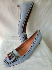 L'Autre Chose Kitten Heel Slip-On Loafer Pump 6.5 M Blue Suede Beads Chain Trim