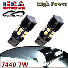 2x White 7440 T20 High Power 7W Tail Brake Stop Backup Reverse LED Light Bulbs