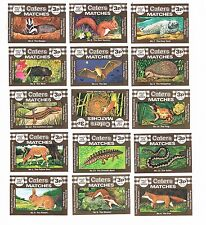 Set of 15 Cornish Match Co matchbox labels Wild Life Series Ac50, 3p.
