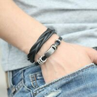 Punk Men Women Wide Genuine Leather Belt Bracelet Cuff Wristband Bangle