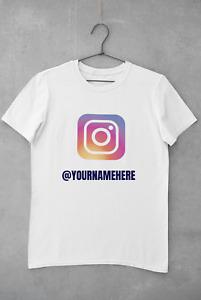 Personalised Custom Instagram T Shirt Business Name Logo Man Printed Tee Top