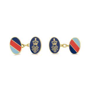 Mens Chain Cufflinks Gold Enamel Red Blue Stripe Oval Shape for SSAFA Jewellery
