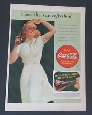 Original 1941 Print Ad COCA-COLA Coke Bottles Face Sun Refreshed White Dress
