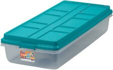 Home Office Storage 63Qt Hi Rise Clear Latch Box Teal Sachet Lid And Handles New