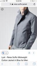 Mens REISS Suffix Jacket Cotton Airforce Blue Sz M