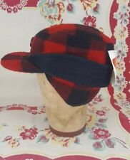 vintage WOOLRICH red / black buffalo check Wool Hunting Cap hat NEW w. tags Med