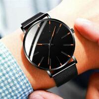 Trendy Men's Ultra Thin Minimalist Stainless Steel Quartz Watch Slim Steel Strap