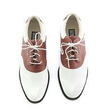 FootJoy MyJoys DryJoys White Red Saddle Oxford Golf Shoes Spikes Womens 8.5 M