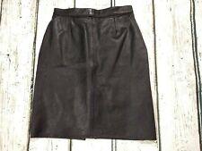 Vintage Genuine Leather Black Pencil Skirt Size UK 6 W25