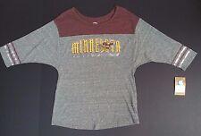 NEW University of Minnesota Gophers Gray Women's 3/4 Sleeve T-Shirt Size M 8/10